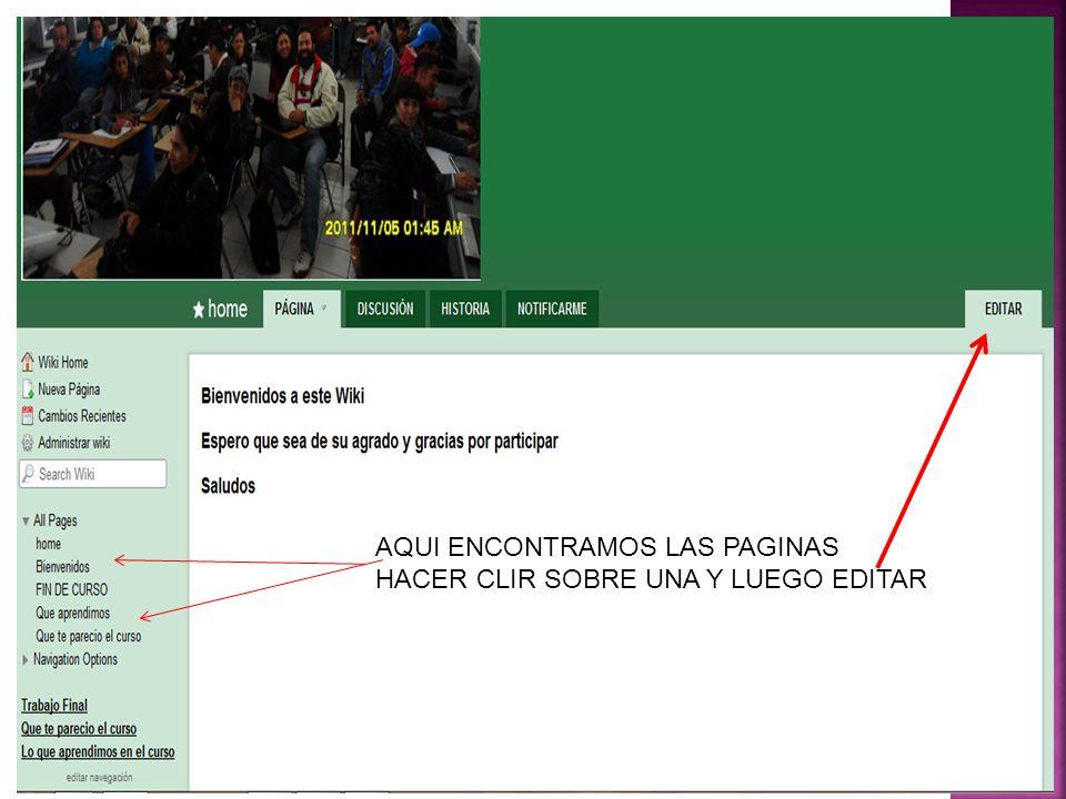 AQUI ENCONTRAMOS LAS PAGINAS HACER CLIR SOBRE UNA Y LUEGO EDITAR