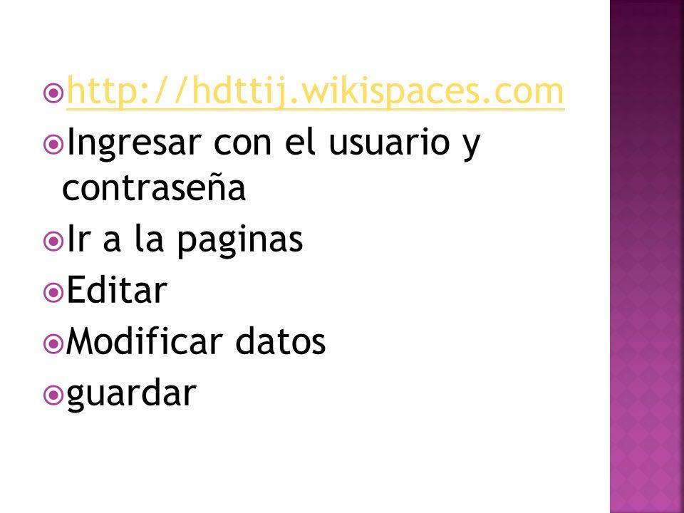 http://hdttij.wikispaces.com Ingresar con el usuario y contraseña Ir a la paginas Editar Modificar datos guardar