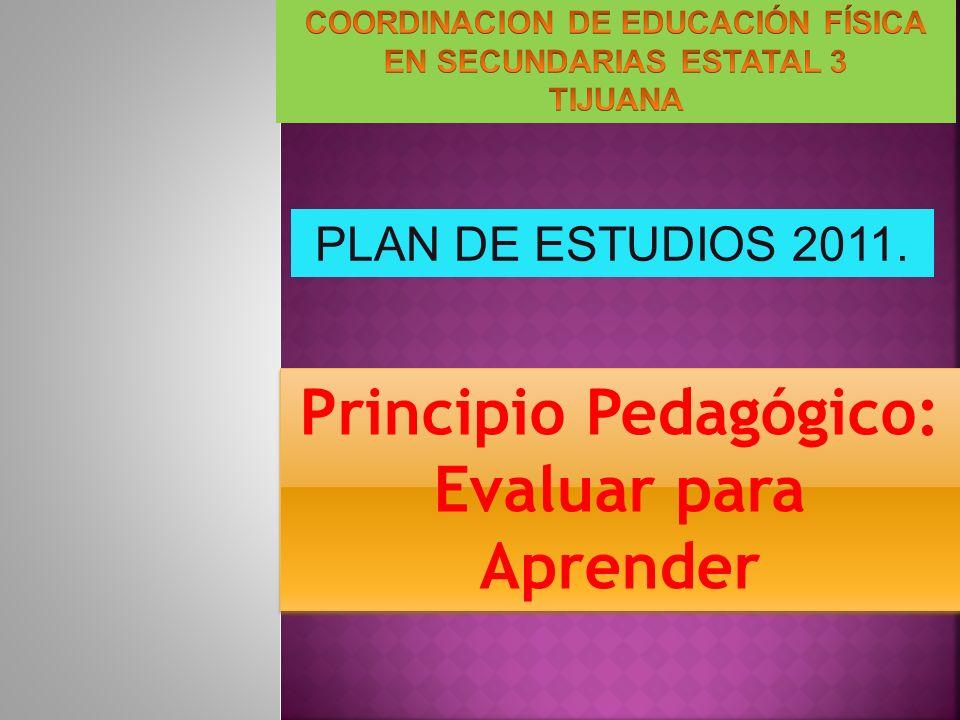 Principio Pedagógico: Evaluar para Aprender Principio Pedagógico: Evaluar para Aprender PLAN DE ESTUDIOS 2011.