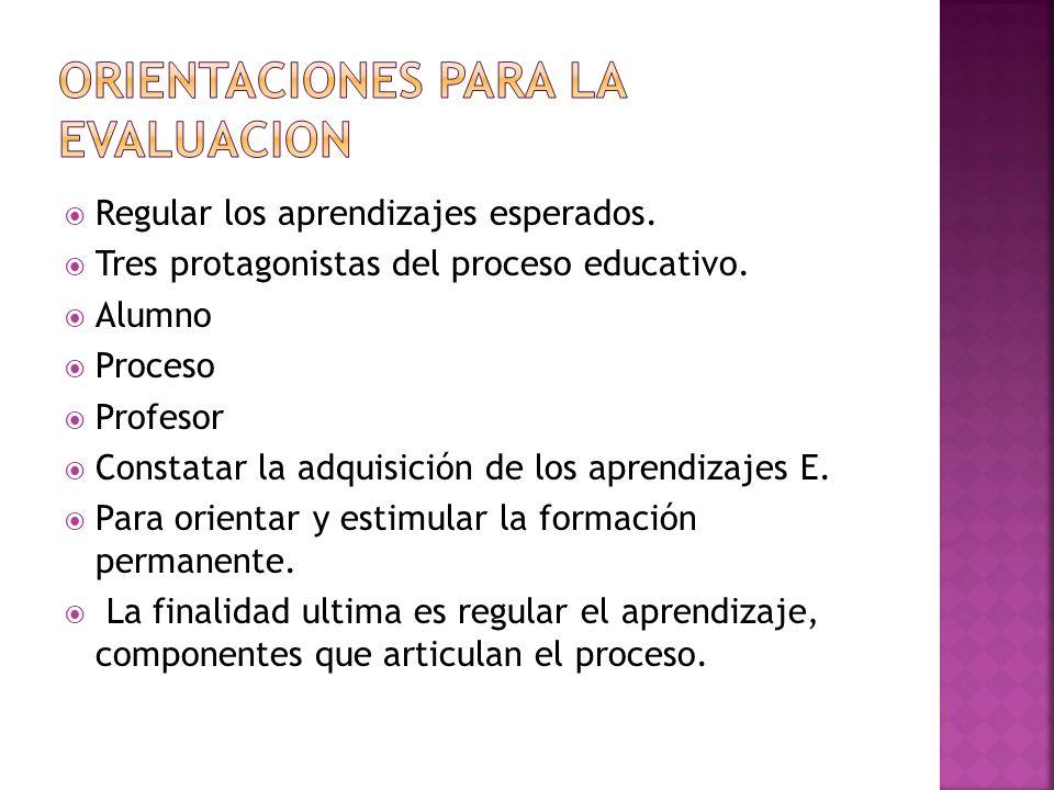 Regular los aprendizajes esperados. Tres protagonistas del proceso educativo. Alumno Proceso Profesor Constatar la adquisición de los aprendizajes E.