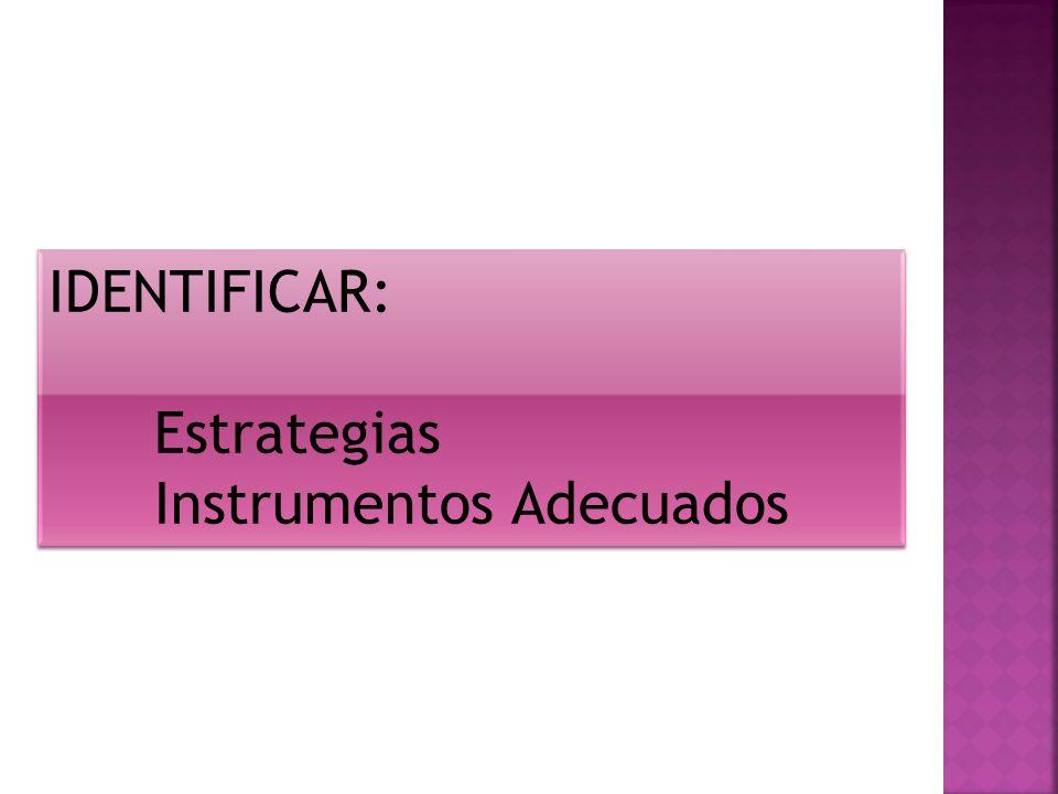 IDENTIFICAR: Estrategias Instrumentos Adecuados IDENTIFICAR: Estrategias Instrumentos Adecuados