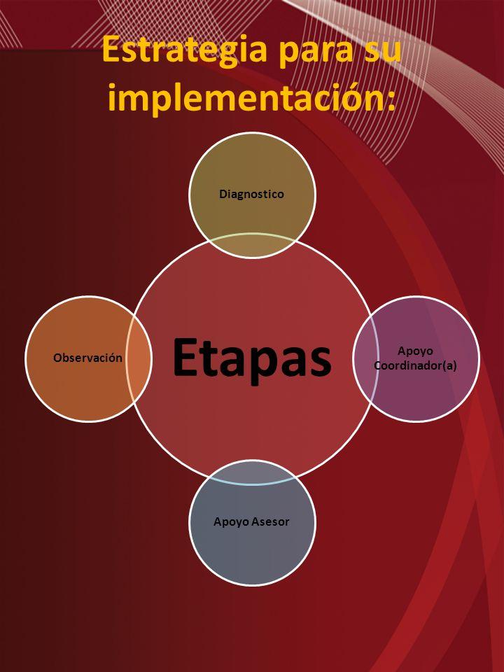 Estrategia para su implementación: Etapas Diagnostico Apoyo Coordinador(a) Apoyo AsesorObservación