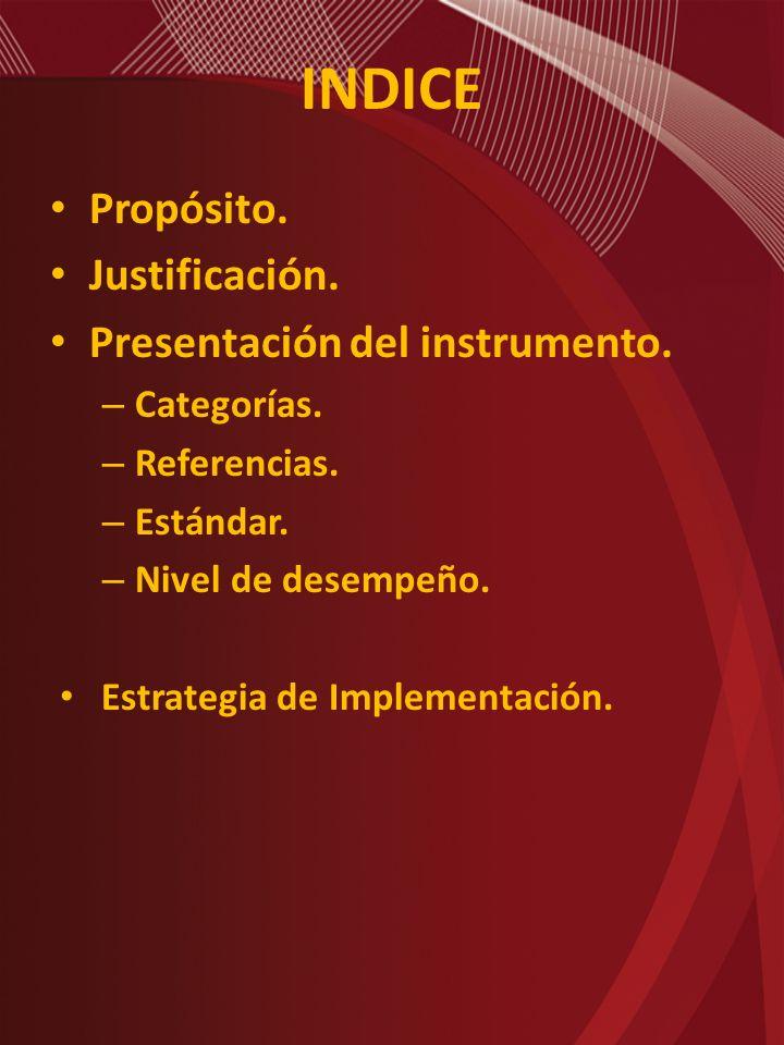 INDICE Propósito. Justificación. Presentación del instrumento. – Categorías. – Referencias. – Estándar. – Nivel de desempeño. Estrategia de Implementa