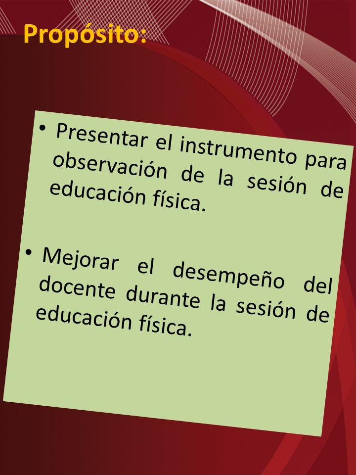 Propósito: Presentar el instrumento para observación de la sesión de educación física. Mejorar el desempeño del docente durante la sesión de educación