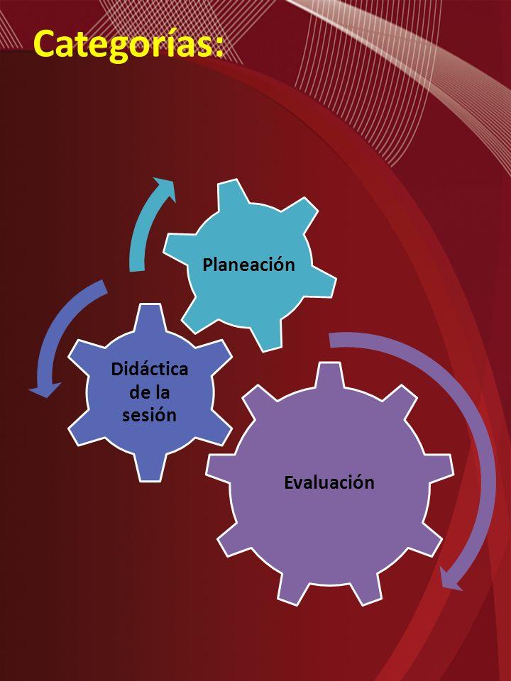 Categorías: Evaluación Didáctica de la sesión Planeación