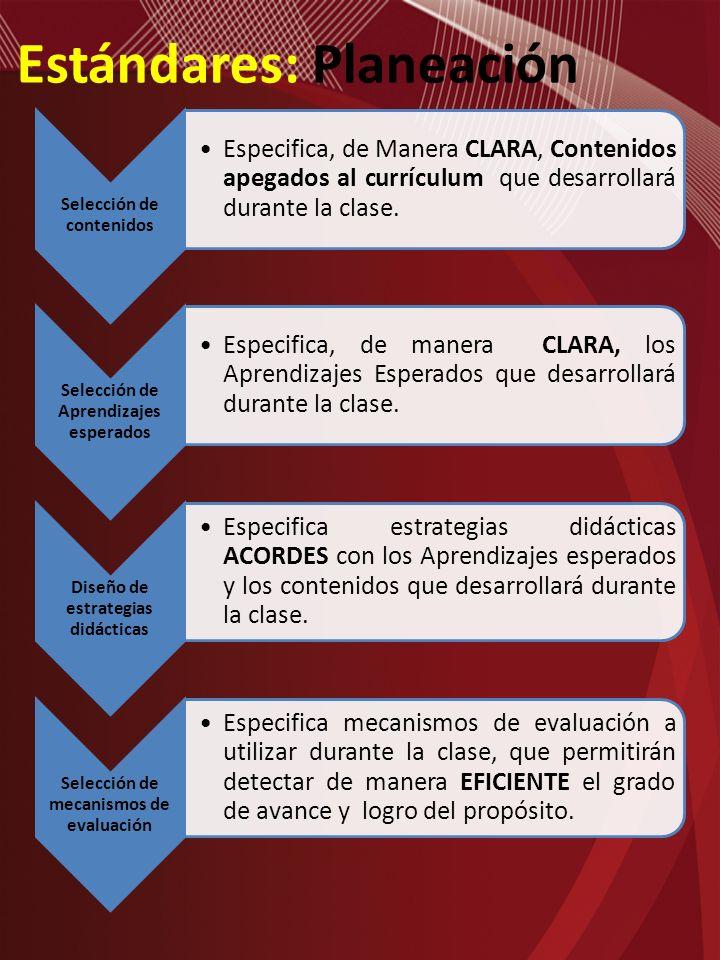 Estándares: Planeación Selección de contenidos Especifica, de Manera CLARA, Contenidos apegados al currículum que desarrollará durante la clase. Selec