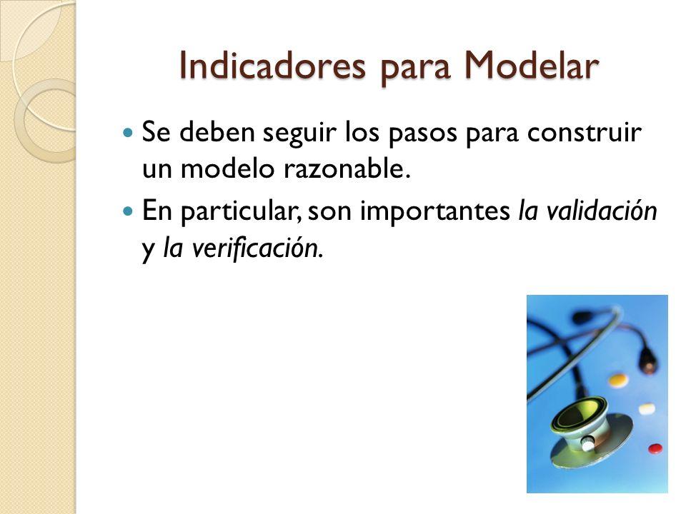 Indicadores para Modelar Se deben seguir los pasos para construir un modelo razonable. En particular, son importantes la validación y la verificación.