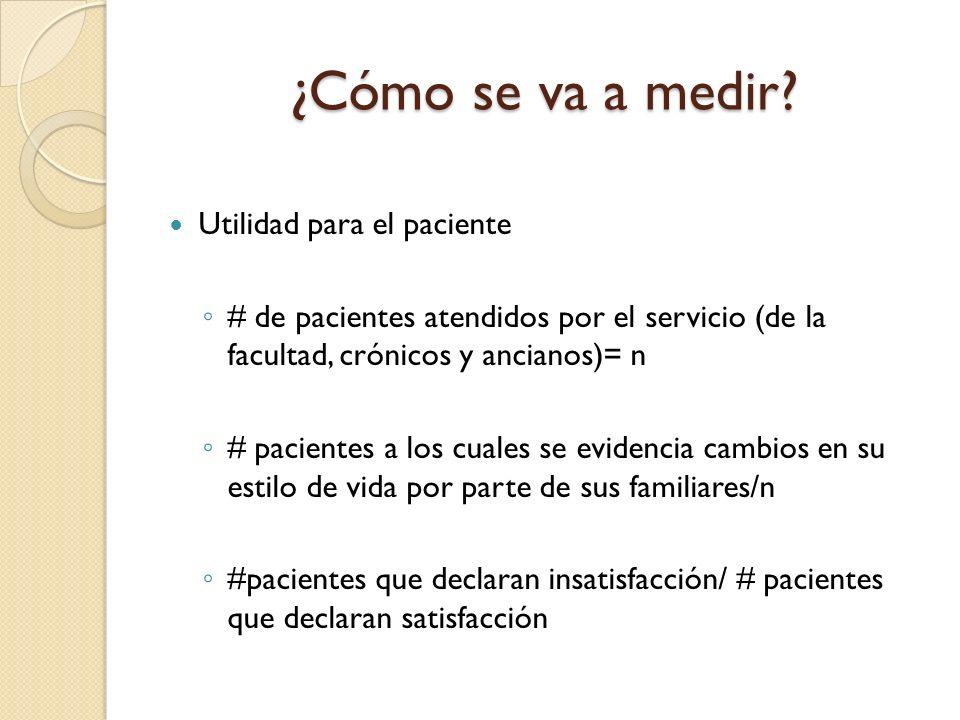 Utilidad para el paciente # de pacientes atendidos por el servicio (de la facultad, crónicos y ancianos)= n # pacientes a los cuales se evidencia camb