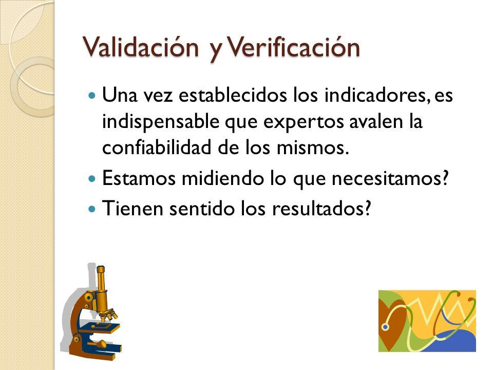 Validación y Verificación Una vez establecidos los indicadores, es indispensable que expertos avalen la confiabilidad de los mismos. Estamos midiendo