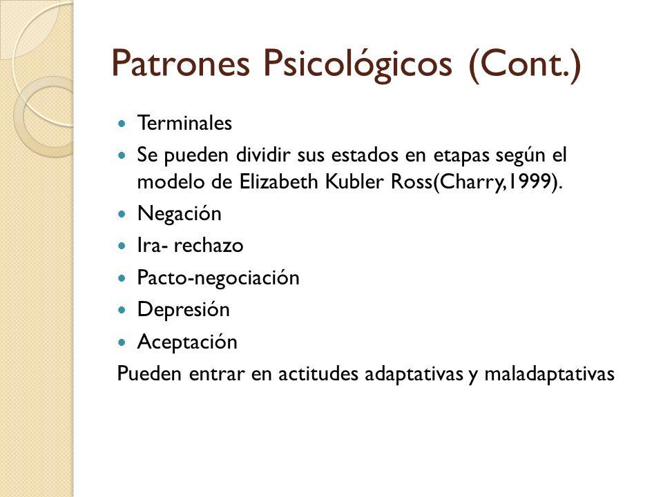 Patrones Psicológicos (Cont.) Terminales Se pueden dividir sus estados en etapas según el modelo de Elizabeth Kubler Ross(Charry,1999). Negación Ira-