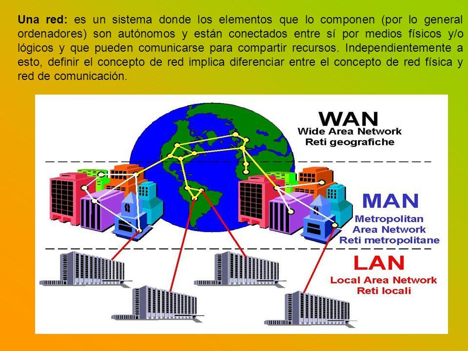 Una red: es un sistema donde los elementos que lo componen (por lo general ordenadores) son autónomos y están conectados entre sí por medios físicos y