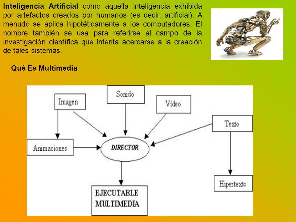 Inteligencia Artificial como aquella inteligencia exhibida por artefactos creados por humanos (es decir, artificial). A menudo se aplica hipotéticamen