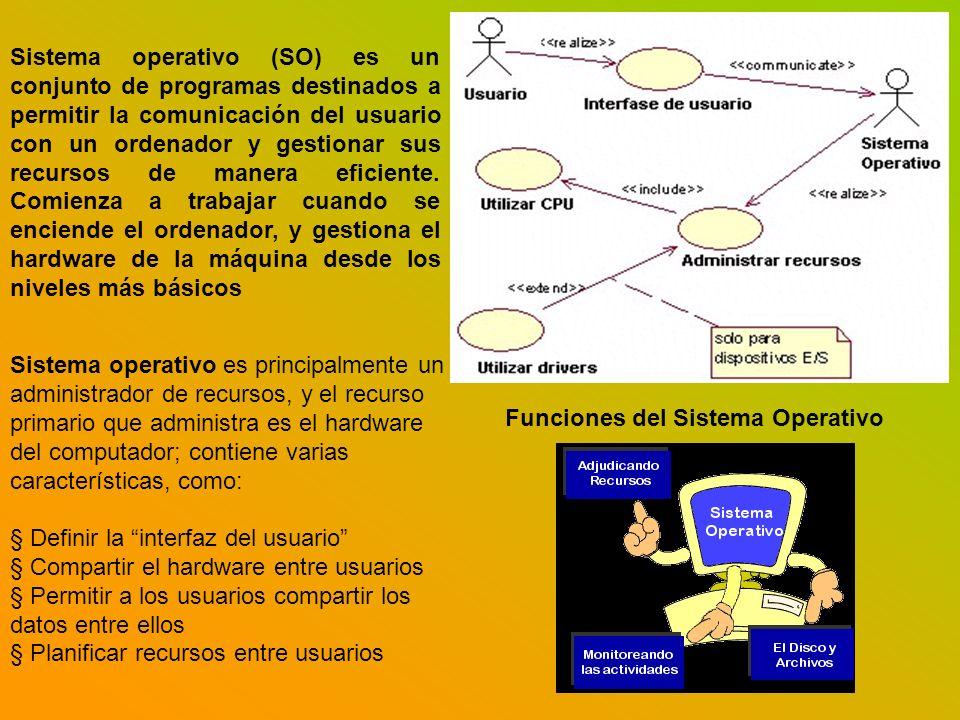 Funciones del Sistema Operativo Sistema operativo (SO) es un conjunto de programas destinados a permitir la comunicación del usuario con un ordenador