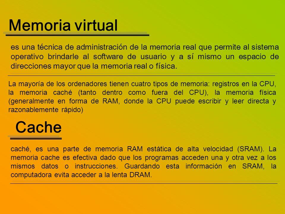 Memoria virtual es una técnica de administración de la memoria real que permite al sistema operativo brindarle al software de usuario y a sí mismo un
