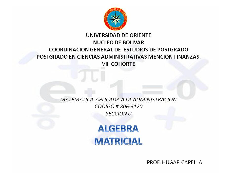 UNIVERSIDAD DE ORIENTE NUCLEO DE BOLIVAR COORDINACION GENERAL DE ESTUDIOS DE POSTGRADO POSTGRADO EN CIENCIAS ADMINISTRATIVAS MENCION FINANZAS. VII COH