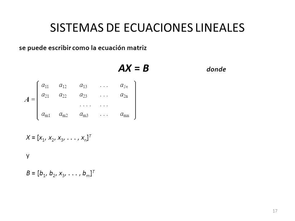 SISTEMAS DE ECUACIONES LINEALES A = A = a 11 a 12 a 13...a 1n a 21 a 22 a 23...a 2n..... a m1 a m2 a m3...a mn se puede escribir como la ecuación matr