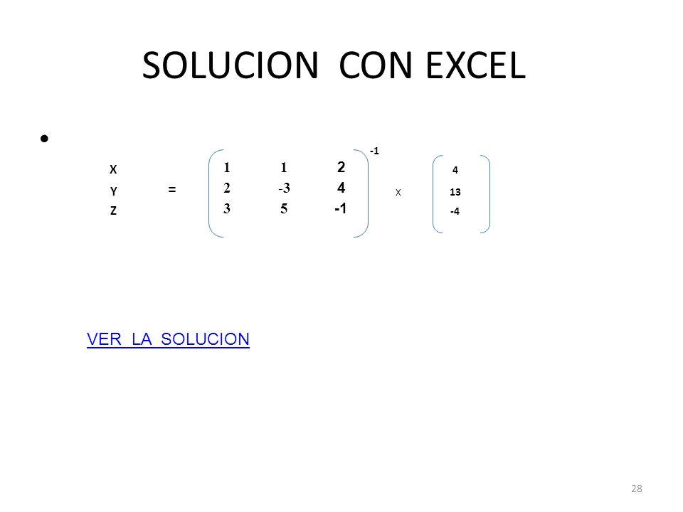 SOLUCION CON EXCEL 28 X 11 2 4 Y = 2-3 4 X 13 Z 35 -4 VER LA SOLUCION