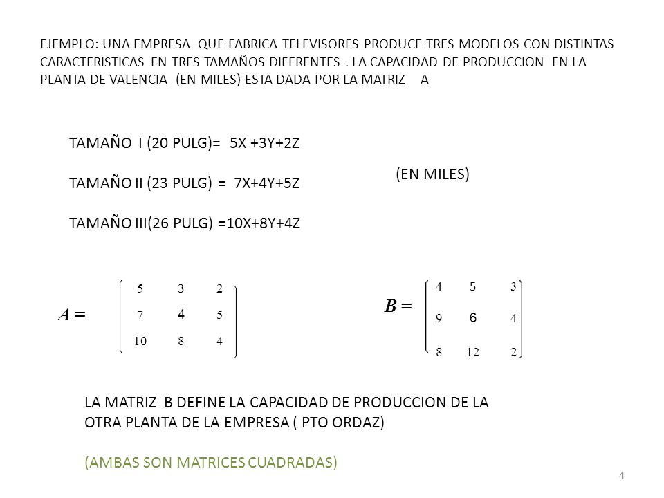 Operaciones con matrices Trasposición La matriz traspuesta, A T, de la matriz A es la matriz que se obtiene cambiando las filas por las columnas (o viceversa) en la matriz A.