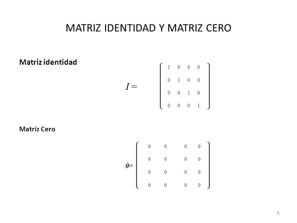 MATRIZ IDENTIDAD Y MATRIZ CERO Matriz identidad I = 1000 0100 0010 0001 0=0= 0000 0000 0000 0000 Matriz Cero 8
