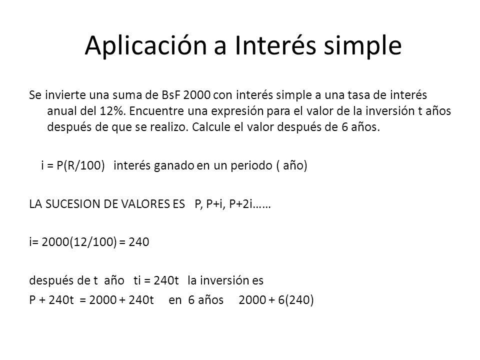 Aplicación a Interés simple Se invierte una suma de BsF 2000 con interés simple a una tasa de interés anual del 12%. Encuentre una expresión para el v