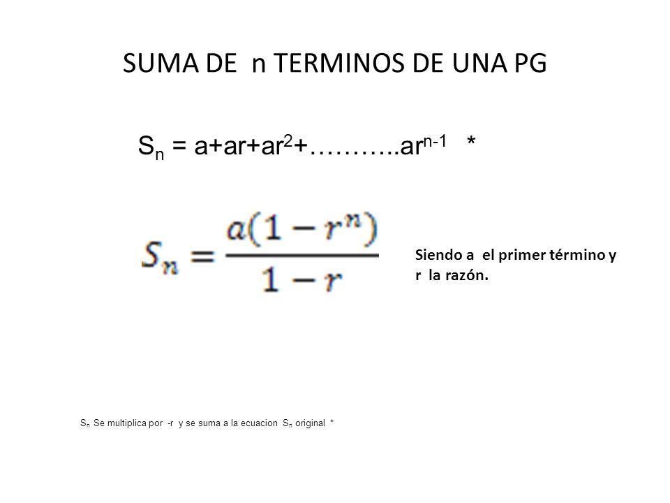 SUMA DE n TERMINOS DE UNA PG Siendo a el primer término y r la razón. S n Se multiplica por -r y se suma a la ecuacion S n original * S n = a+ar+ar 2