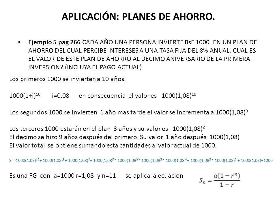 VALOR FUTURO PRIMER PAGO SEGUNDO PAGOTERCER PAGO n esimo PAGO(n-1) esimo PAGO S n = P(1+i) n-1 + p(1+i) n-2 +P(1+i) n-3 +………..+P(1+i)+P a=P primer término