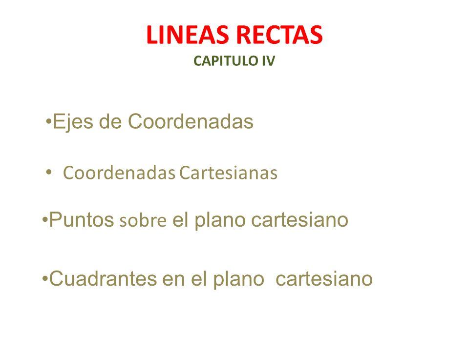 LINEAS RECTAS CAPITULO IV Coordenadas Cartesianas Puntos sobre el plano cartesiano Ejes de Coordenadas Cuadrantes en el plano cartesiano