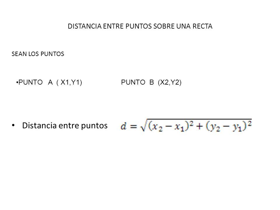 DISTANCIA ENTRE PUNTOS SOBRE UNA RECTA SEAN LOS PUNTOS Distancia entre puntos PUNTO A ( X1,Y1) PUNTO B (X2,Y2)