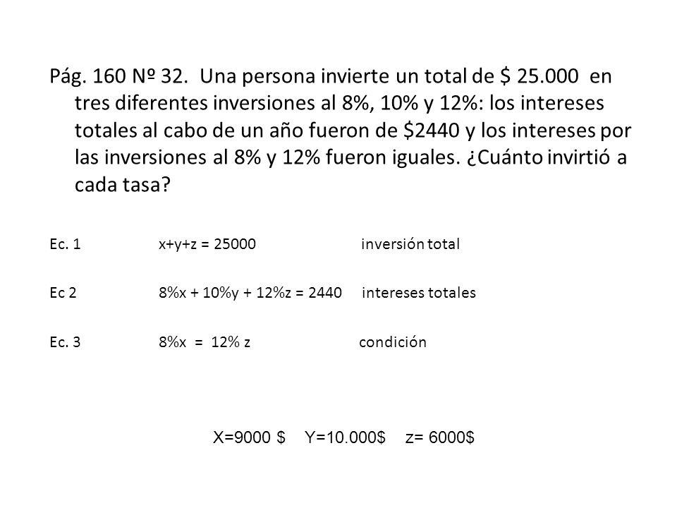 Pág. 160 Nº 32. Una persona invierte un total de $ 25.000 en tres diferentes inversiones al 8%, 10% y 12%: los intereses totales al cabo de un año fue