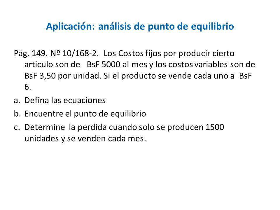 Aplicación: análisis de punto de equilibrio Pág. 149. Nº 10/168-2. Los Costos fijos por producir cierto articulo son de BsF 5000 al mes y los costos v