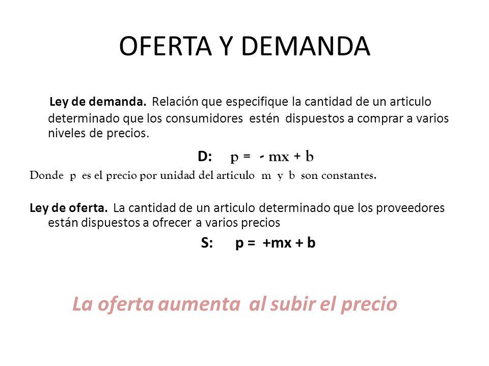 OFERTA Y DEMANDA Ley de demanda. Relación que especifique la cantidad de un articulo determinado que los consumidores estén dispuestos a comprar a var