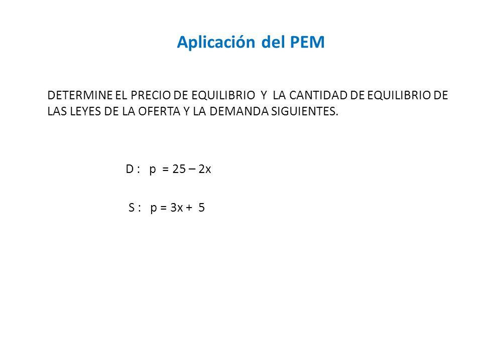 Aplicación del PEM DETERMINE EL PRECIO DE EQUILIBRIO Y LA CANTIDAD DE EQUILIBRIO DE LAS LEYES DE LA OFERTA Y LA DEMANDA SIGUIENTES. D : p = 25 – 2x S