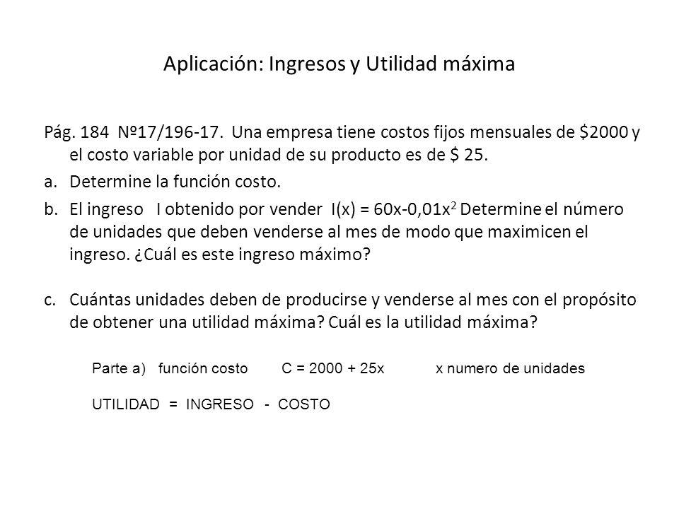 Aplicación: Ingresos y Utilidad máxima Pág. 184 Nº17/196-17. Una empresa tiene costos fijos mensuales de $2000 y el costo variable por unidad de su pr