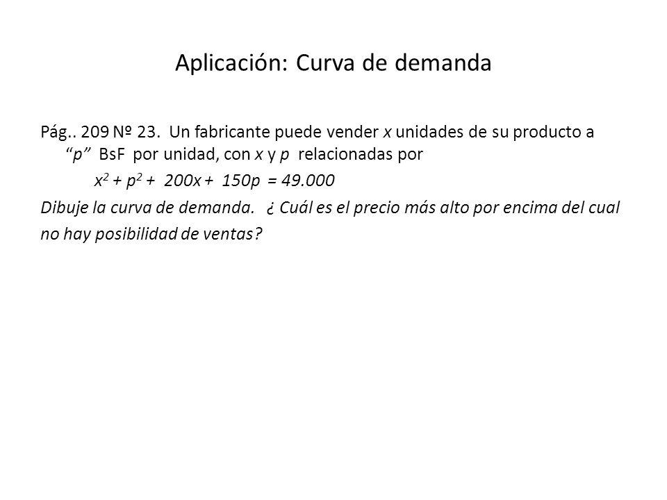 Aplicación: Curva de demanda Pág.. 209 Nº 23. Un fabricante puede vender x unidades de su producto ap BsF por unidad, con x y p relacionadas por x 2 +