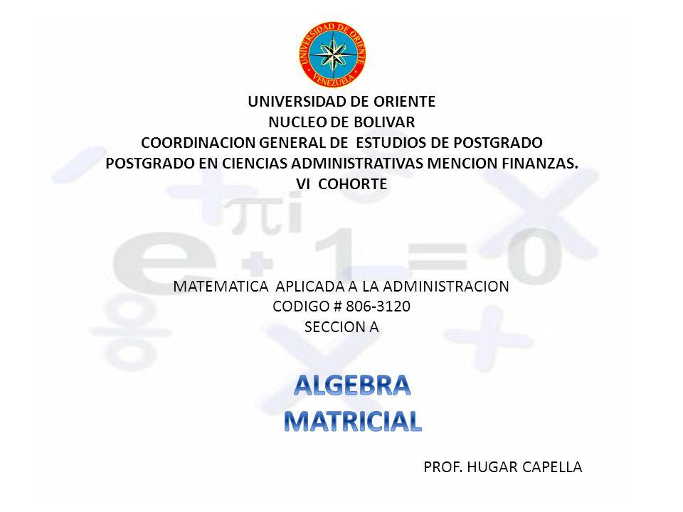 UNIVERSIDAD DE ORIENTE NUCLEO DE BOLIVAR COORDINACION GENERAL DE ESTUDIOS DE POSTGRADO POSTGRADO EN CIENCIAS ADMINISTRATIVAS MENCION FINANZAS.