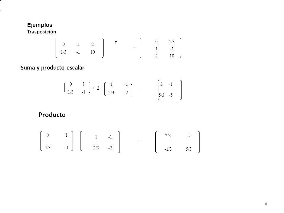 012 T 1/3 -110 = 01/3 1 -1 210 Ejemplos Trasposición 01 + 2 1/3 -1 1 -1 = 2/3 -2-2 2 -1 5/3 -5-5 Suma y producto escalar 01 1/3 -1 1 -1 2/3 -2-2 = -2-2 - 1/35/3 Producto 8
