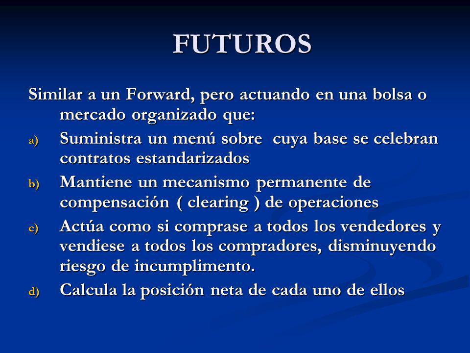 FUTUROS FUTUROS Similar a un Forward, pero actuando en una bolsa o mercado organizado que: a) Suministra un menú sobre cuya base se celebran contratos