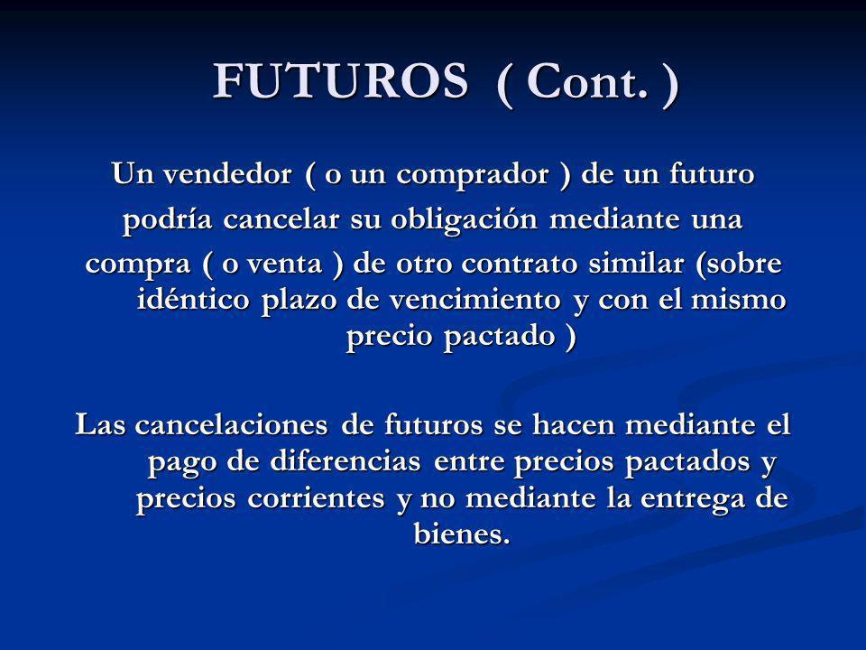 FUTUROS ( Cont. ) FUTUROS ( Cont. ) Un vendedor ( o un comprador ) de un futuro podría cancelar su obligación mediante una compra ( o venta ) de otro