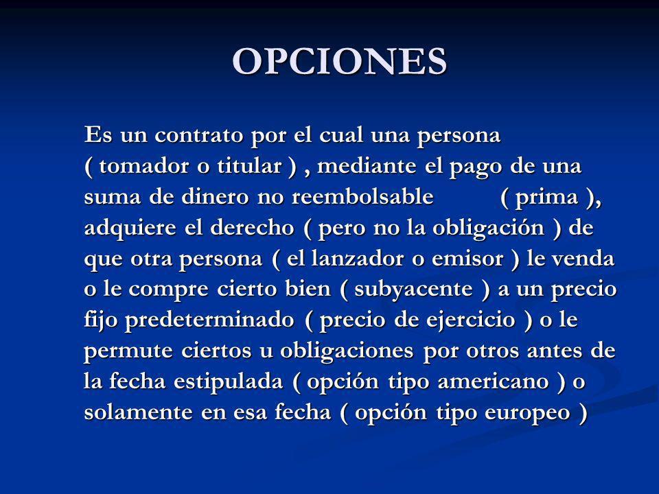 OPCIONES OPCIONES Es un contrato por el cual una persona ( tomador o titular ), mediante el pago de una suma de dinero no reembolsable ( prima ), adqu