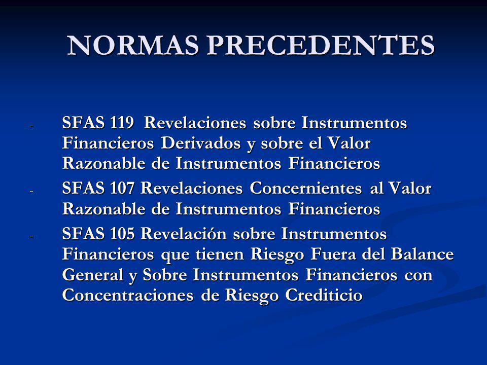 NORMAS PRECEDENTES NORMAS PRECEDENTES - SFAS 119 Revelaciones sobre Instrumentos Financieros Derivados y sobre el Valor Razonable de Instrumentos Fina