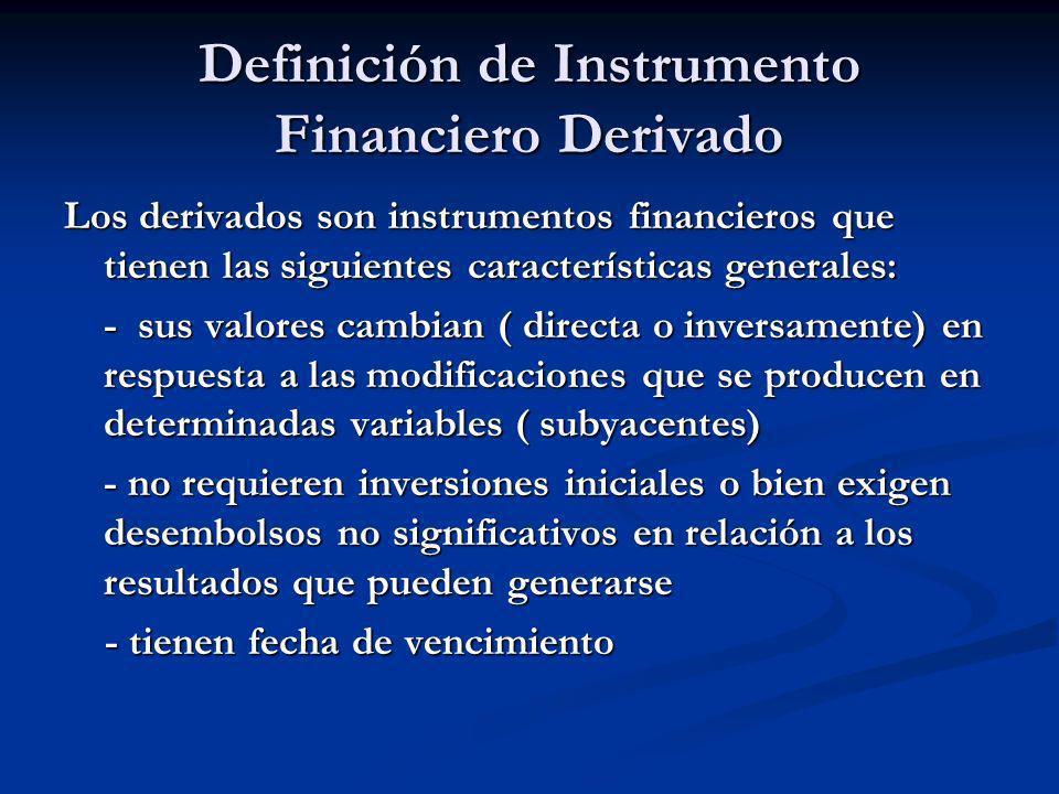 Definición de Instrumento Financiero Derivado Los derivados son instrumentos financieros que tienen las siguientes características generales: - sus va