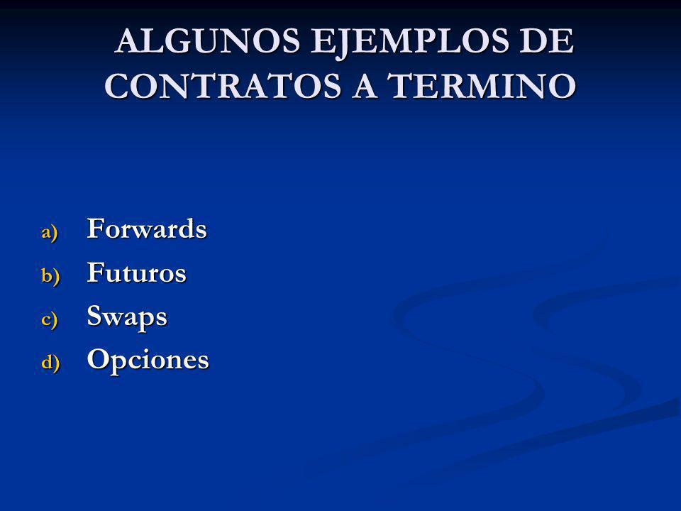 ALGUNOS EJEMPLOS DE CONTRATOS A TERMINO ALGUNOS EJEMPLOS DE CONTRATOS A TERMINO a) Forwards b) Futuros c) Swaps d) Opciones