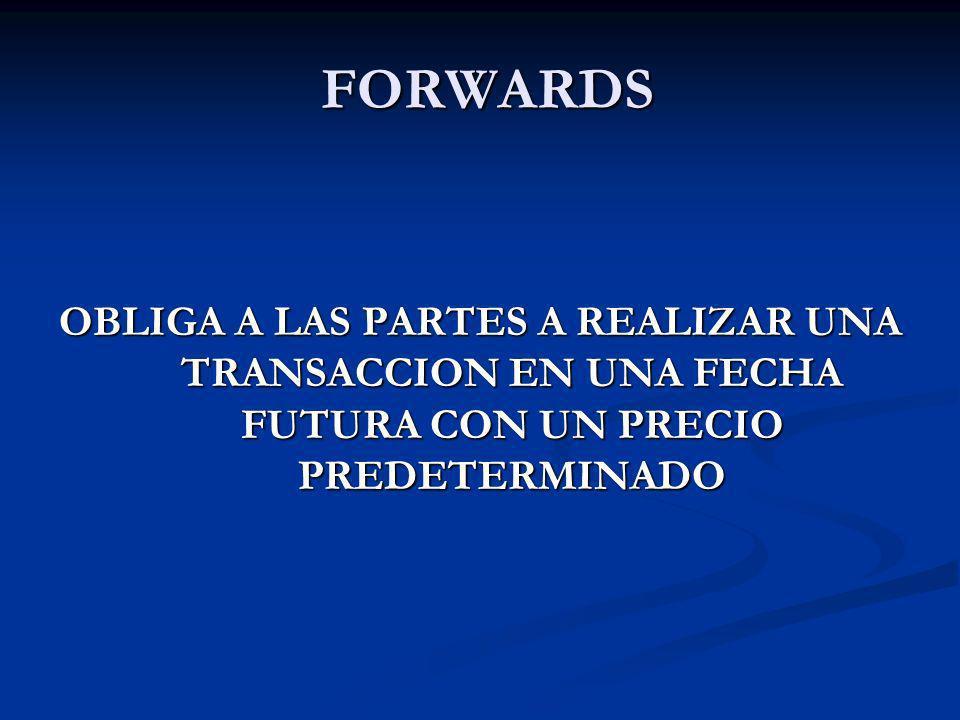 FORWARDS FORWARDS OBLIGA A LAS PARTES A REALIZAR UNA TRANSACCION EN UNA FECHA FUTURA CON UN PRECIO PREDETERMINADO