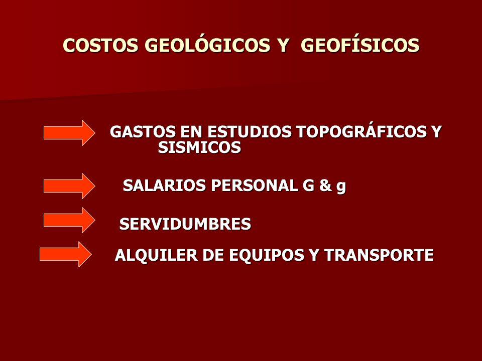 COSTOS GEOLÓGICOS Y GEOFÍSICOS GASTOS EN ESTUDIOS TOPOGRÁFICOS Y SISMICOS GASTOS EN ESTUDIOS TOPOGRÁFICOS Y SISMICOS SALARIOS PERSONAL G & g SALARIOS