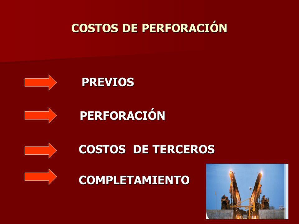 COSTOS DE PERFORACIÓN PREVIOS PREVIOS PERFORACIÓN PERFORACIÓN COSTOS DE TERCEROS COSTOS DE TERCEROS COMPLETAMIENTO COMPLETAMIENTO