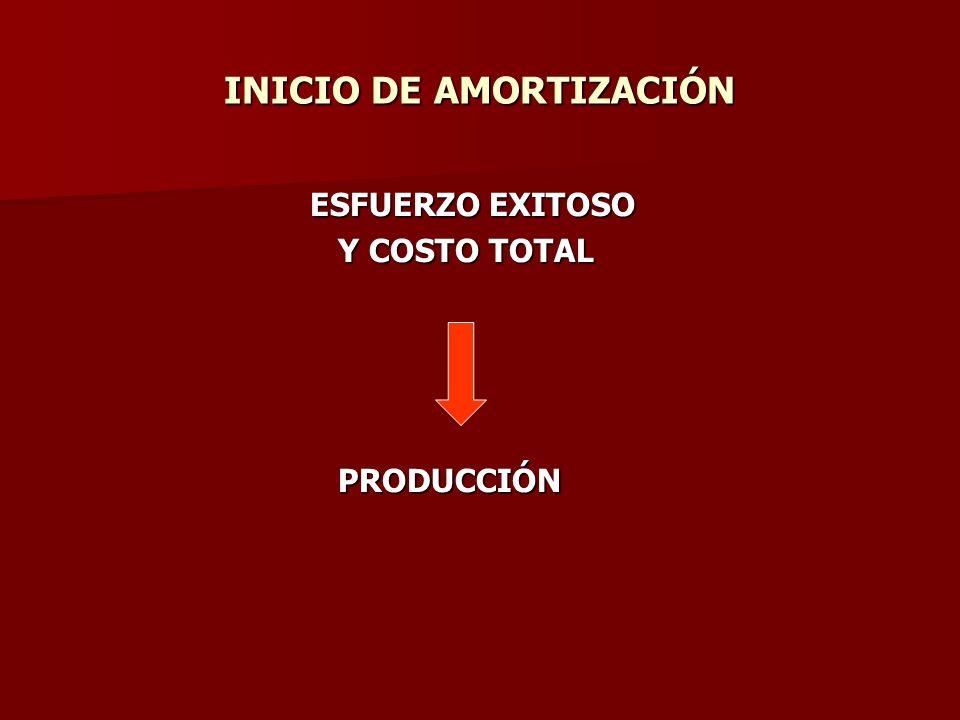 INICIO DE AMORTIZACIÓN ESFUERZO EXITOSO ESFUERZO EXITOSO Y COSTO TOTAL Y COSTO TOTAL PRODUCCIÓN PRODUCCIÓN