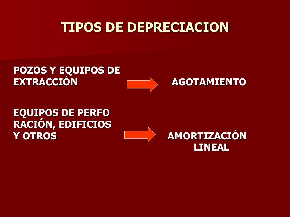 TIPOS DE DEPRECIACION POZOS Y EQUIPOS DE EXTRACCIÓN AGOTAMIENTO EQUIPOS DE PERFO RACIÓN, EDIFICIOS Y OTROS AMORTIZACIÓN LINEAL LINEAL