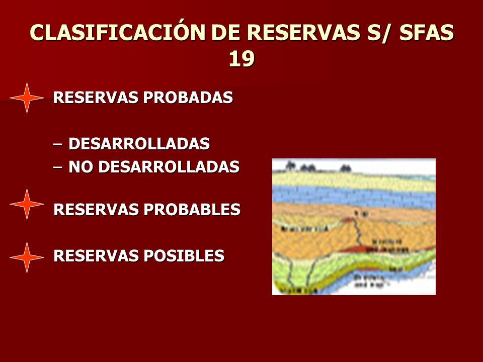 CLASIFICACIÓN DE RESERVAS S/ SFAS 19 RESERVAS PROBADAS RESERVAS PROBADAS –DESARROLLADAS –NO DESARROLLADAS RESERVAS PROBABLES RESERVAS POSIBLES
