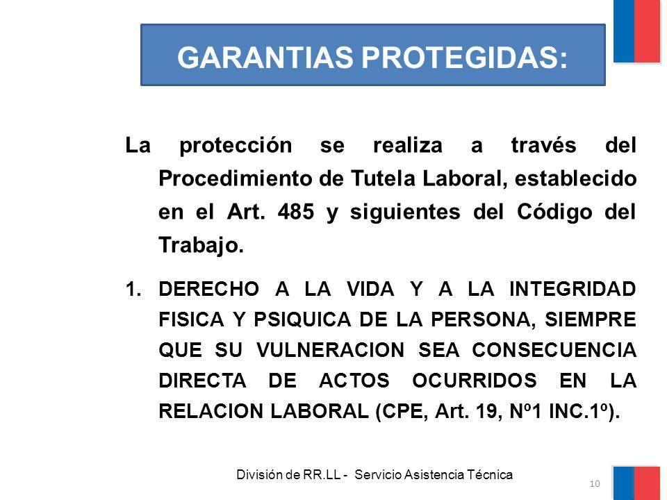 División de RR.LL - Servicio Asistencia Técnica GARANTIAS PROTEGIDAS: La protección se realiza a través del Procedimiento de Tutela Laboral, estableci