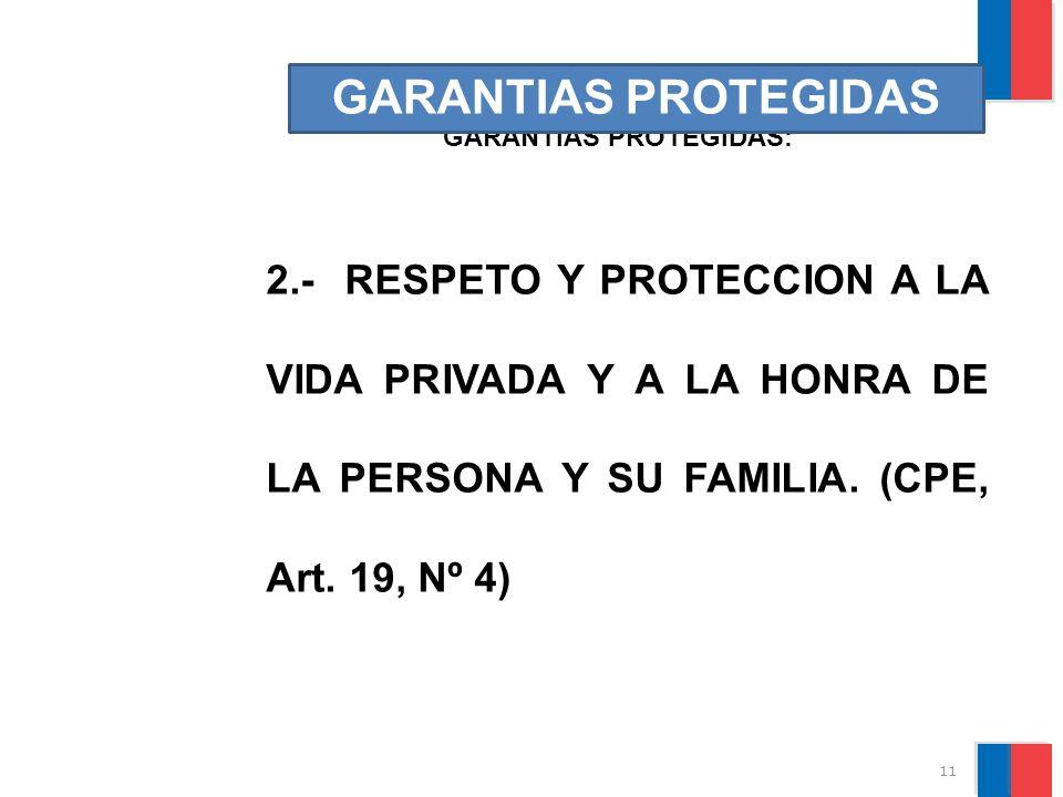11 GARANTIAS PROTEGIDAS: GARANTIAS PROTEGIDAS 2.- RESPETO Y PROTECCION A LA VIDA PRIVADA Y A LA HONRA DE LA PERSONA Y SU FAMILIA. (CPE, Art. 19, Nº 4)